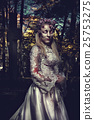 Dressed in wedding clothes romantic zombie woman. 25753275