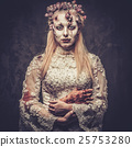 Dressed in wedding clothes romantic zombie woman. 25753280