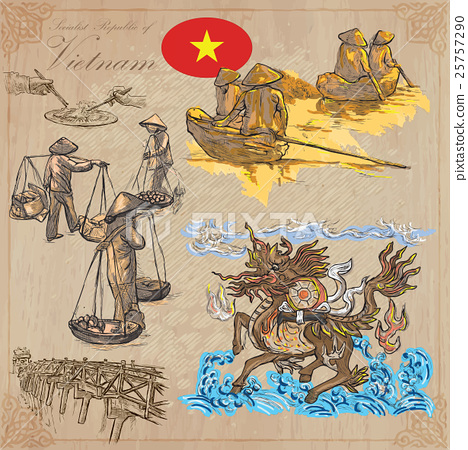 Vietnam. Pictures of Life. Colored vector pack. 25757290
