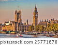 Big Ben with boat in London, England, UK 25771678