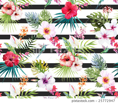 Watercolor tropical floral pattern 25772947