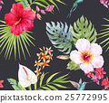 Watercolor tropical floral pattern 25772995