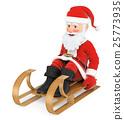 3D Santa Claus sleigh riding 25773935