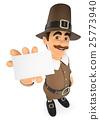 3D Thanksgiving man showing a blank card 25773940