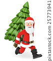 3D Santa Claus running with a fir tree on back 25773941