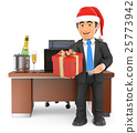 3D Businessman handing a business gift 25773942