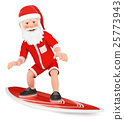 3D Santa Claus surfing on a board 25773943