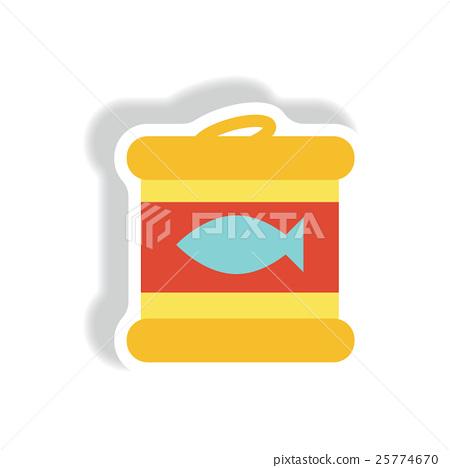 stylish icon paper sticker style Canned tuna fish 25774670