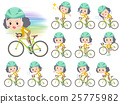 Yellow jacket Middle woman ride on rode bicycle 25775982