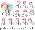 Blue-green wear Middle woman ride on rode bicycle 25775983
