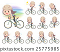 Long hair border T woman ride on rode bicycle 25775985