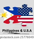 USA and Philippines flags in puzzle 25776049