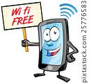 fun mobile cartoon with wi fi signboard 25776583