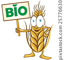 wheat cartoon bio  with signboard isolated 25776630