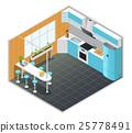 interior, isometric, kitchen 25778491