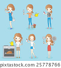 cartoon woman do housework 25778766
