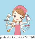 cartoon woman do housework 25778768