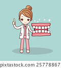Happy cartoon denture and dentist 25778867
