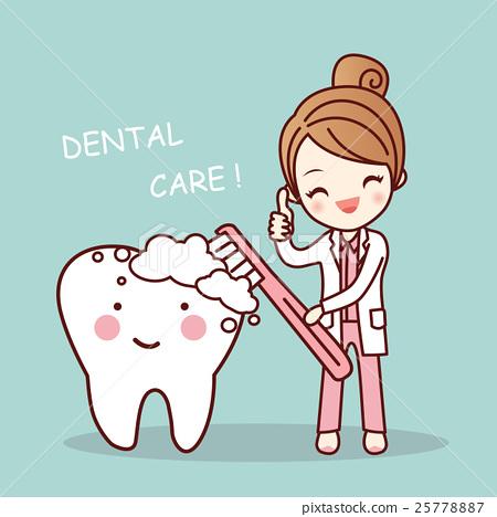cute cartoon dentist brush tooth 25778887