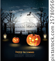 Halloween spooky background. Vector 25780956