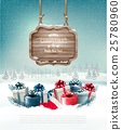 Winter background with gift boxes and a sign 25780960