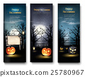 Three Holiday Halloween Banners with Pumpkins 25780967
