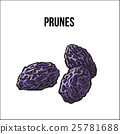Pile of dried prunes, sketch style, hand drawn 25781688
