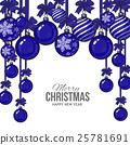 Blue Christmas balls with ribbon and bows 25781691