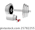 Dumbbell with vial of pills, 3D rendering 25782255