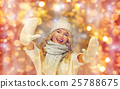beautiful woman in winter hat, scarf and mittens 25788675