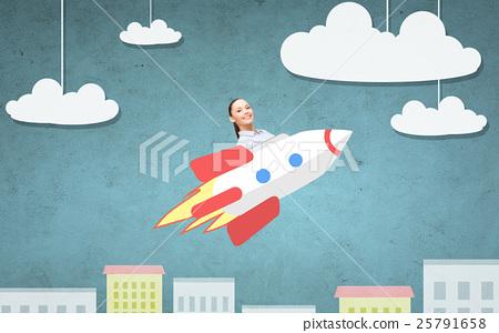 businesswoman flying on rocket above cartoon city 25791658