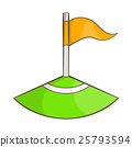 Corner flag on soccer field icon, cartoon style 25793594