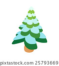 Snowy fir icon, cartoon style 25793669