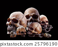 Many skull on black background. 25796190