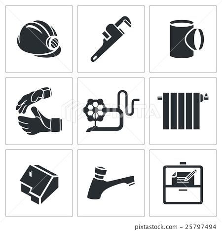 Plumber profession Vector Icons Set 25797494