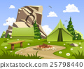 Summer day landscape and green camping tent 25798440