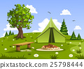Summer day landscape and green camping tent 25798444
