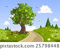 Summer day landscape. Nature vector illustration 25798448
