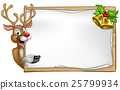 Christmas Santas Reindeer Cartoon Sign 25799934