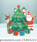 Greeting Christmas and New Year card. Merry 25804223