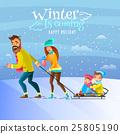 벡터, 가족, 겨울 25805190