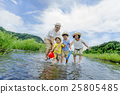 family, playing in a river, outing to the riverside 25805485