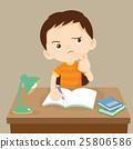 cute boy thinking working on homework 25806586
