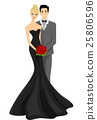 Couple Bride Groom Black Wedding Gown 25806596