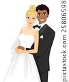 Couple Bride Groom Interracial Wedding 25806598
