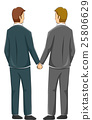 Couple Gay Back View Hold Hands 25806629