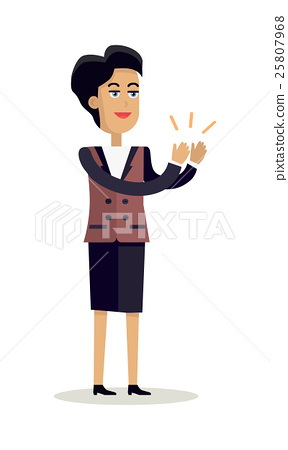 Business Woman Clapping Hands with Happy Face 25807968