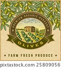 Vintage colorful olive harvest label 25809056