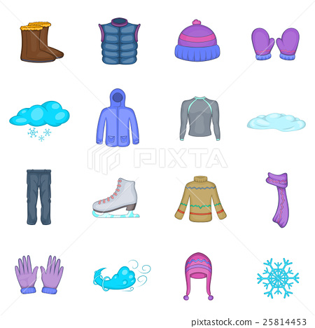 winter clothes icons set cartoon style stock