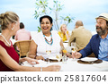 Mature Friends Fine Dining Outdoors Concept 25817604